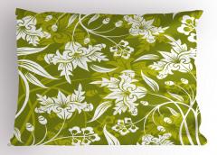 Romantik Dekoratif Çiçekler Yastık Kılıfı Yeşil Beyaz