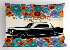 Eski Siyah Araba Desenli Yastık Kılıfı Retro Dizayn