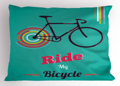 Retro Bisiklet Desenli Yastık Kılıfı Dekoratif Şık
