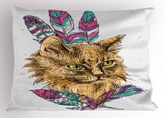 Rengarenk Tüylü Kedi Portresi Yastık Kılıfı Trend
