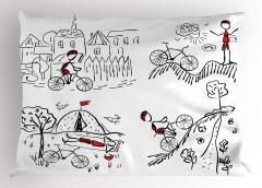 Bisikletçinin Maceraları Desenli Yastık Kılıfı Trend