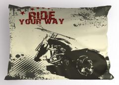Nostaljik Motosiklet Yastık Kılıfı Şık Tasarım Bej
