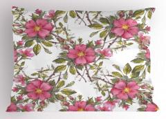 Pembe Romantik Çiçekler Yastık Kılıfı Çeyizlik Şık