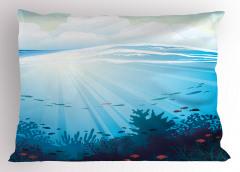 Dalgalı Denizdeki Balıklar Yastık Kılıfı Mercan Mavi