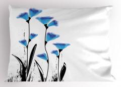 Mavi Dekoratif Çiçekler Yastık Kılıfı Çeyizlik Şık