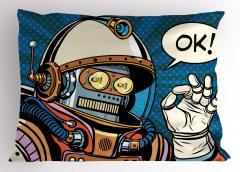 Retro Astronot Desenli Yastık Kılıfı Uzay Bilim