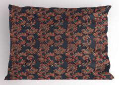 Çiçekli Şal Desenli Yastık Kılıfı Dekoratif Çeyizlik