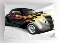 Siyah Şık Araba Desenli Yastık Kılıfı Beyaz Fonlu