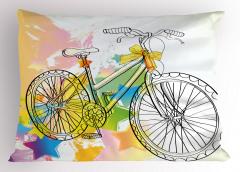 Siyah Bisiklet Desenli Yastık Kılıfı Yıldız Desenli