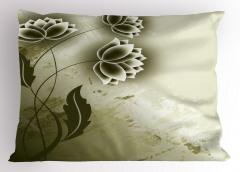 Bej Çiçek Desenli Yastık Kılıfı Dekoratif Trend