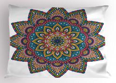 Şık İşlemeli Mandala Çiçeği Yastık Kılıfı Dekoratif