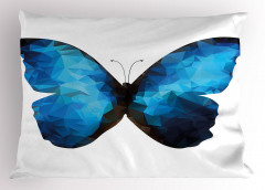 Mavi Siyah Kelebek Desenli Yastık Kılıfı Geometrik