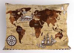 Nostaljik Dünya Haritası Yastık Kılıfı Kahverengi Kuş