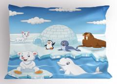 Kutup Hayvanları Desenli Yastık Kılıfı Mavi Beyaz