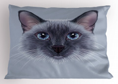Mavi Gözlü Kedi Desenli Yastık Kılıfı Dekoratif