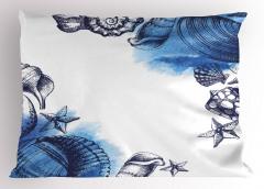 Mavi Deniz Kabuğu Desenli Yastık Kılıfı Dekoratif