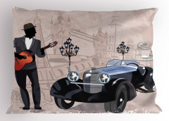 Sokak Müzisyeni ve Araba Yastık Kılıfı Kahverengi