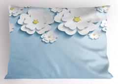 Beyaz Mavi 3D Çiçekler Yastık Kılıfı Dekoratif