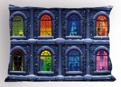 Rengarenk Pencereli Ev Yastık Kılıfı Karlı Gece