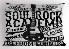 Konser Afişi Desenli Yastık Kılıfı Siyah Beyaz Gitar