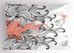 Kalp ve Kuş Desenli Yastık Kılıfı Siyah Pembe Şık