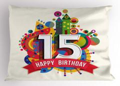 On Beş Yaş Mumu Yastık Kılıfı Doğum Günü Şık