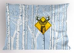 Geyik Çıkabilir Yastık Kılıfı Kış Orman Mavi