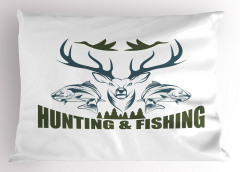 Balıklar ve Geyik Yastık Kılıfı Yeşil Mavi Avcılık
