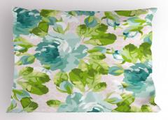 Mavi Çiçek Desenli Yastık Kılıfı Yeşil Yapraklı Şık