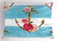 Çiçekli Çapa Desenli Yastık Kılıfı Mavi Dekoratif