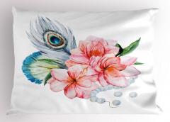 Pembe Çiçek ve İnci Yastık Kılıfı Şık Tasarım