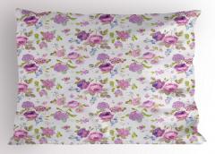 Mor Güller Desenli Yastık Kılıfı Çeyizlik Dekoratif