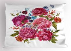 Pembe ve Mavi Çiçekler Yastık Kılıfı Şık Tasarım
