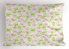 Morlu Çiçek Desenli Yastık Kılıfı Yeşil Yapraklı Şık