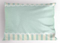 Beyaz Minik Puantiyeli Yastık Kılıfı Mavi Dekoratif