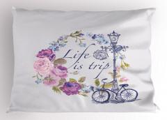 Mor Çiçek ve Bisiklet Yastık Kılıfı Romantik Şık