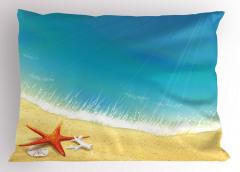 Kumdaki Denizyıldızı Yastık Kılıfı Turkuaz Bej