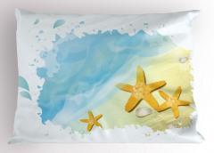 Sarı Denizyıldızları Yastık Kılıfı Mavi Deniz
