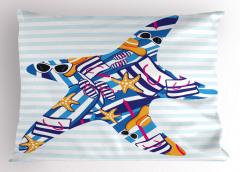 Gözlüklü Denizyıldızı Yastık Kılıfı Komik Dekoratif