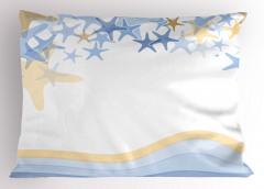 Minik Denizyıldızları Yastık Kılıfı Dalga Beyaz Mavi