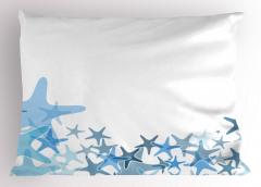 Küçük Denizyıldızları Yastık Kılıfı Mavi Beyaz