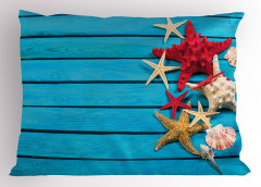 Kırmızı Denizyıldızı Yastık Kılıfı Mavi Ahşap Şık