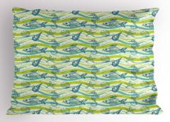 Balık ve Denizatı Yastık Kılıfı Mavi Yeşil Şık