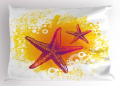 Mor Denizyıldızı Yastık Kılıfı Sarı Dekoratif