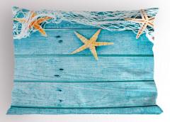 Ağ ve Denizyıldızı Yastık Kılıfı Mavi Ahşap Şık