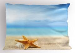 Gökyüzü ve Denizyıldızı Yastık Kılıfı Mavi Sarı Şık