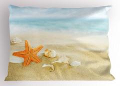 Sarı Denizyıldızı Yastık Kılıfı Kumsal Deniz Kabuğu