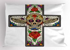 Kanatlı Kuru Kafa Yastık Kılıfı Çiçekli Dini