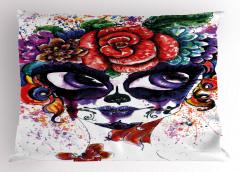 Mor Gözlü Kız Yastık Kılıfı Çiçekli Dekoratif