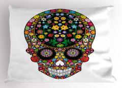 Çiçeklenmiş Kuru Kafa Yastık Kılıfı Rengarenk Şık